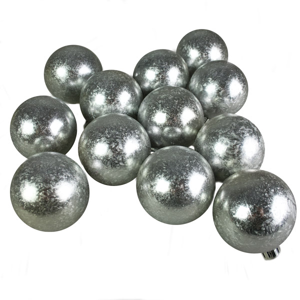 Silver Ice Lacquer Fashion Trend Shatterproof Baubles - Pack Of 12 x 60mm