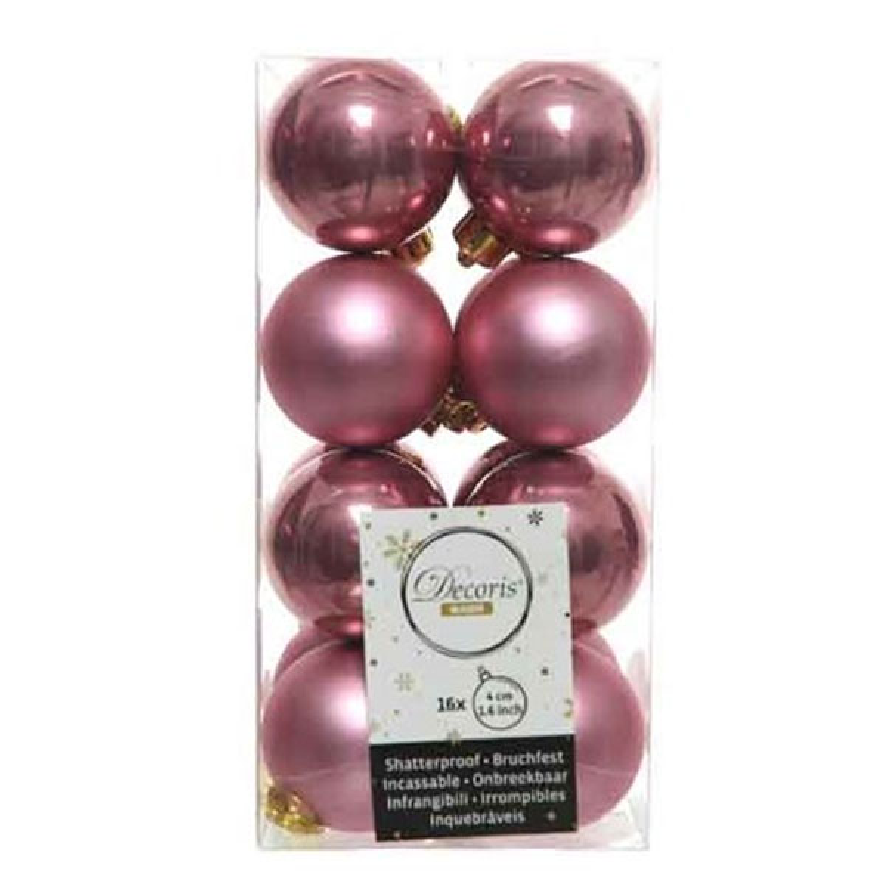 Velvet Pink Fashion Trend Shatterproof Baubles - Pack Of 16 x 40mm