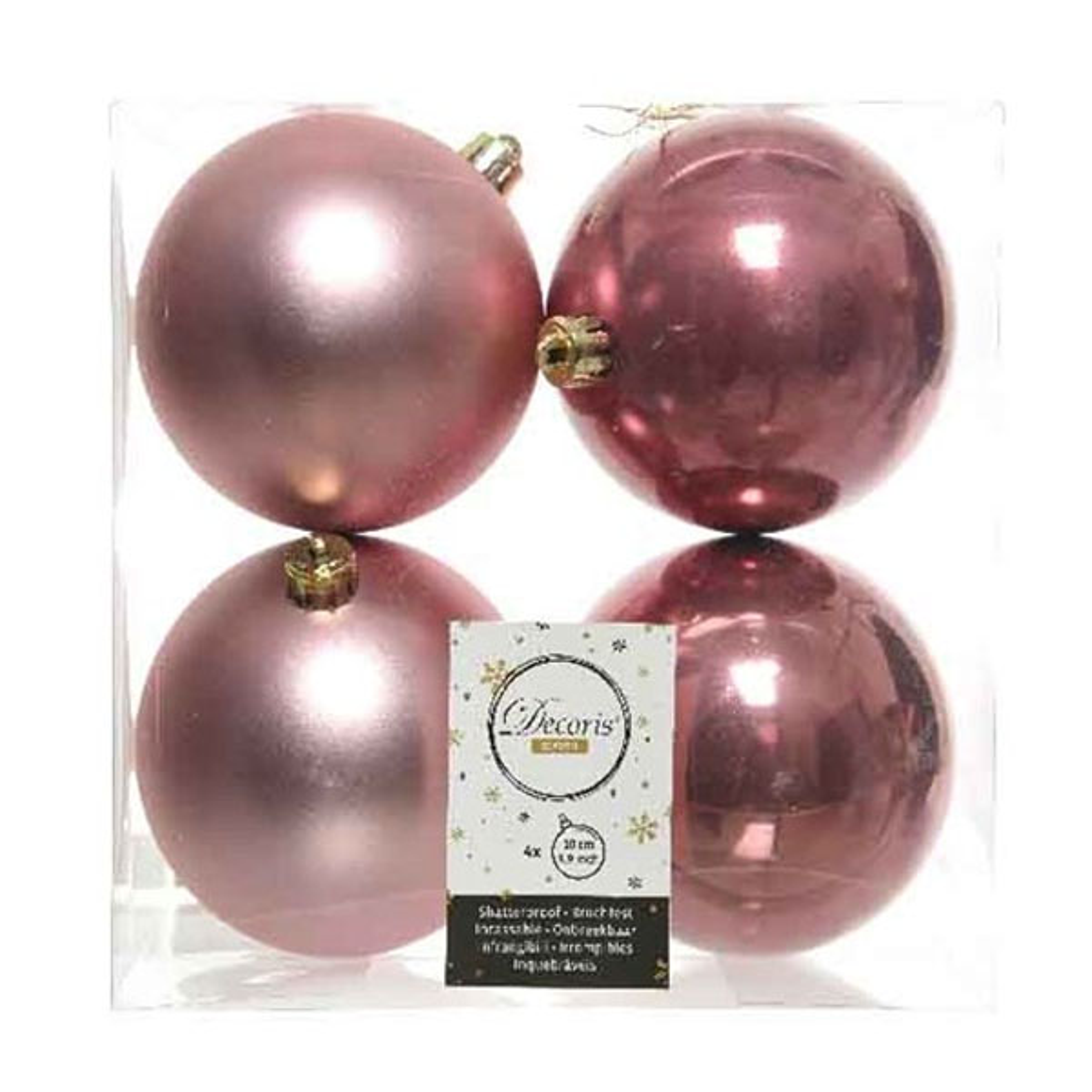 Velvet Pink Fashion Trend Shatterproof Baubles - Pack Of 4 x 100mm