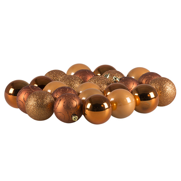 Copper Mixed Finish Shatterproof Baubles - 24 X 60mm
