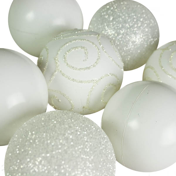 White Mixed Finish Shatterproof Baubles - 24 X 60mm