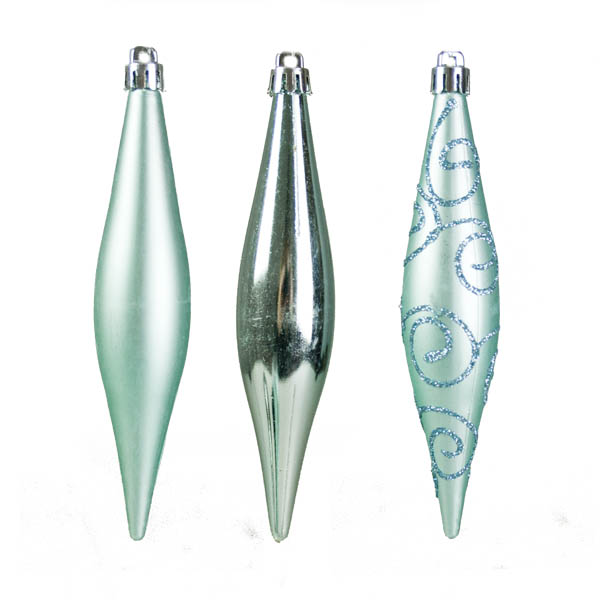 Ice Blue Shatterproof Mixed Finish Hanging Teardrops - 6 X 150mm