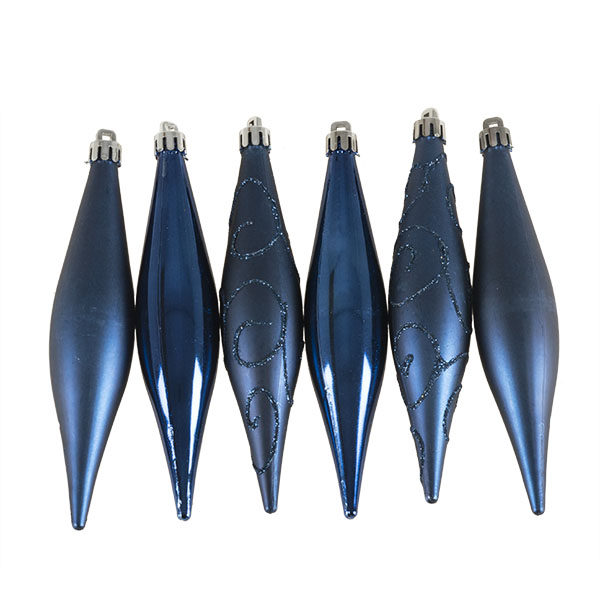 Midnight Blue Shatterproof Mixed Finish Hanging Teardrops - 6 X 150mm