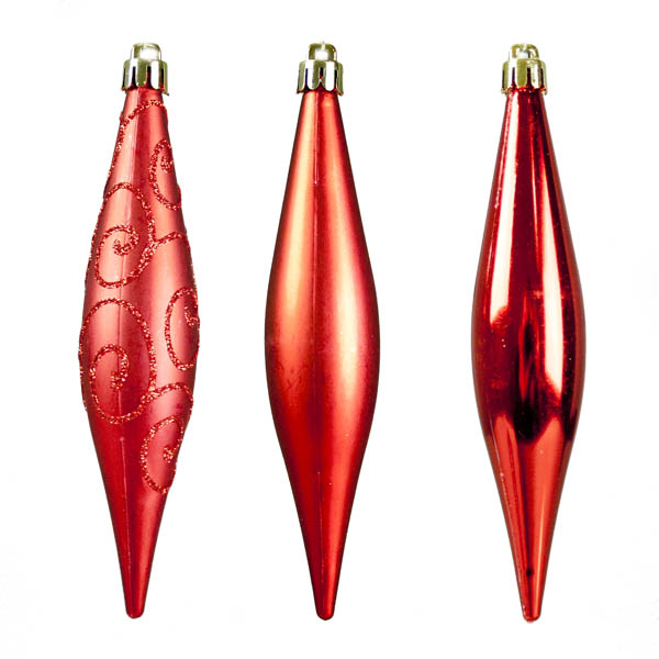 Red Shatterproof Mixed Finish Hanging Teardrops - 6 X 150mm