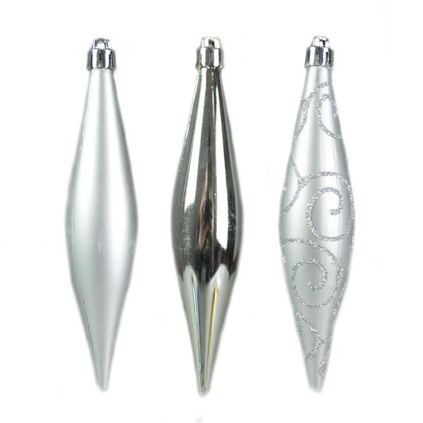 Silver Shatterproof Mixed Finish Hanging Teardrops - 6 X 150mm