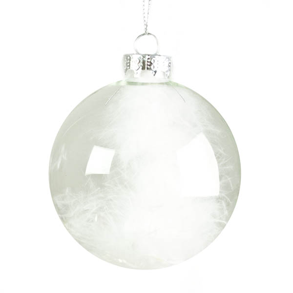 Clear Glass Bauble With White Feathers - 80mm