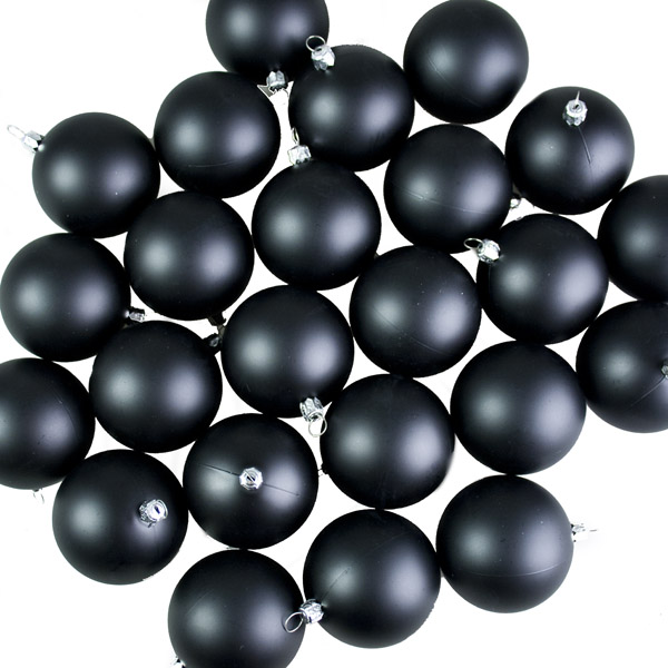 Luxury Black Matt Shatterproof Baubles - Pack of 24 x 67mm
