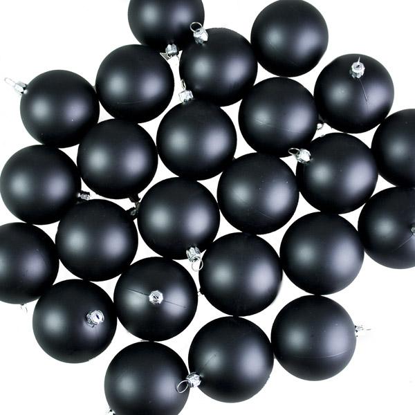 Luxury Black Matt Shatterproof Baubles - Pack of 24 x 67mm