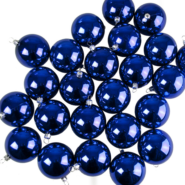 Luxury Blue Shiny Shatterproof Baubles - Pack of 24 x 67mm