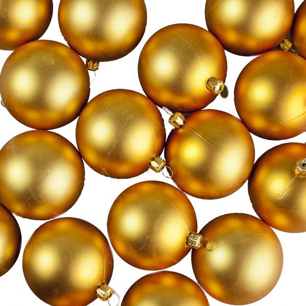 Luxury Gold Matt Shatterproof Baubles - Pack of 24 x 67mm