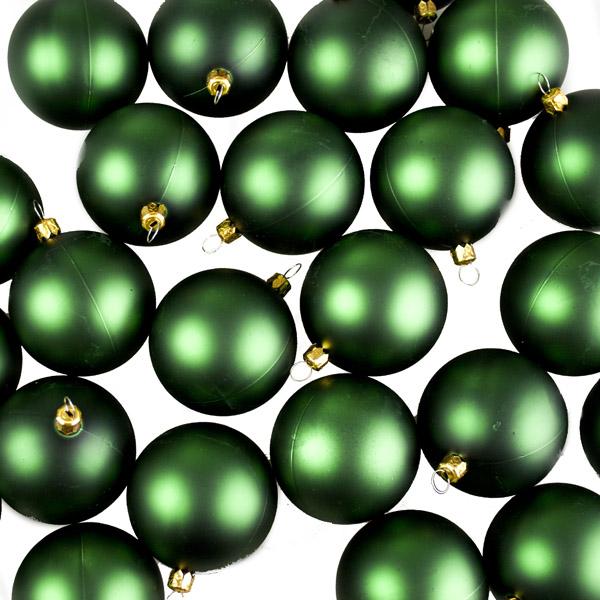 Luxury Green Matt Shatterproof Baubles - Pack of 24 x 67mm