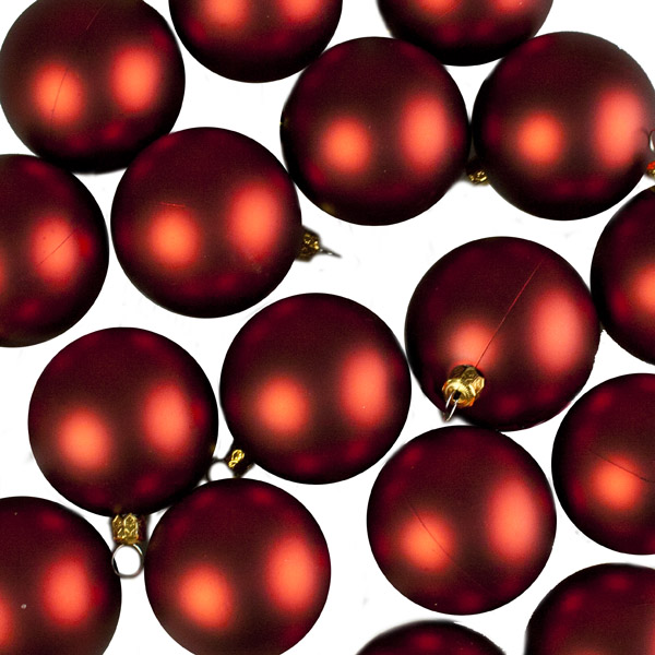 Luxury Red Matt Shatterproof Baubles - Pack of 24 x 67mm