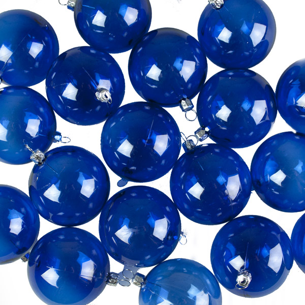 Blue Tinted Shatterproof Baubles - Pack of 18 x 67mm