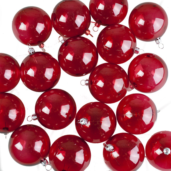 Red Tinted Transparent Shatterproof Baubles - Pack of 18 x 67mm