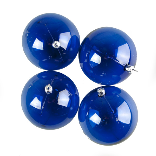Blue Tinted Transparent Shatterproof Baubles - Pack of 4 x 90mm