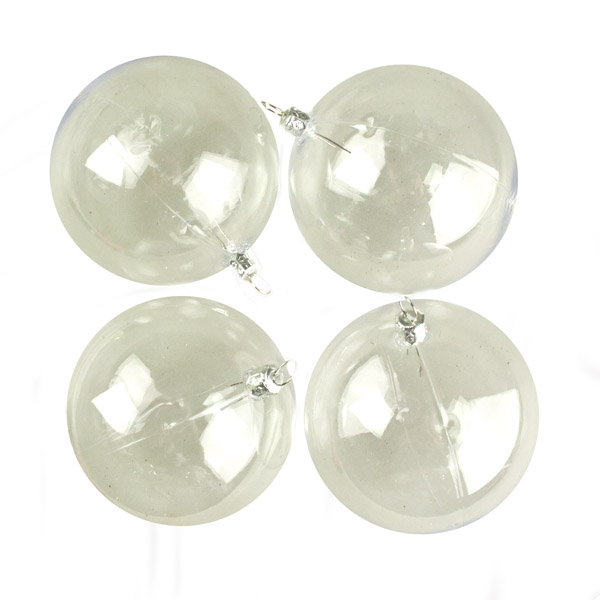 Clear Tinted Transparent Shatterproof Baubles - Pack of 4 x 90mm