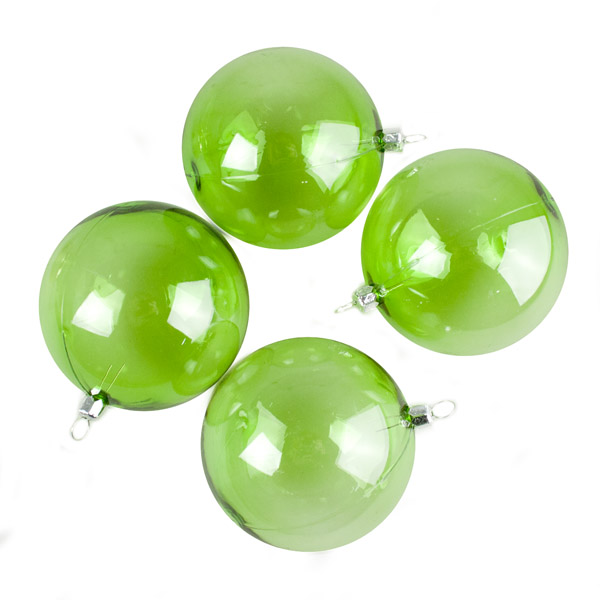 Lime Green Tinted Transparent Shatterproof Baubles - Pack of 4 x 90mm