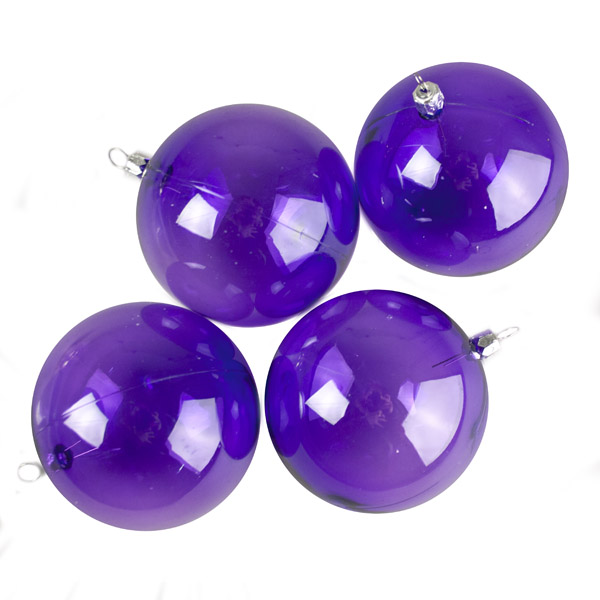 Purple Tinted Transparent Shatterproof Baubles - Pack of 4 x 90mm
