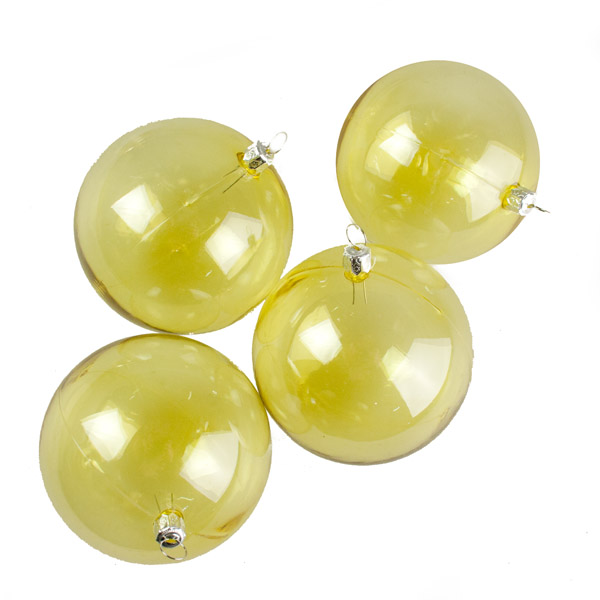Yellow Tinted Transparent Shatterproof Baubles - Pack of 4 x 90mm