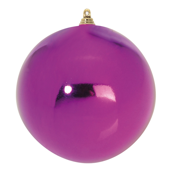 Purple Shiny Finish Shatterproof Baubles - Pack Of 6 X 80mm