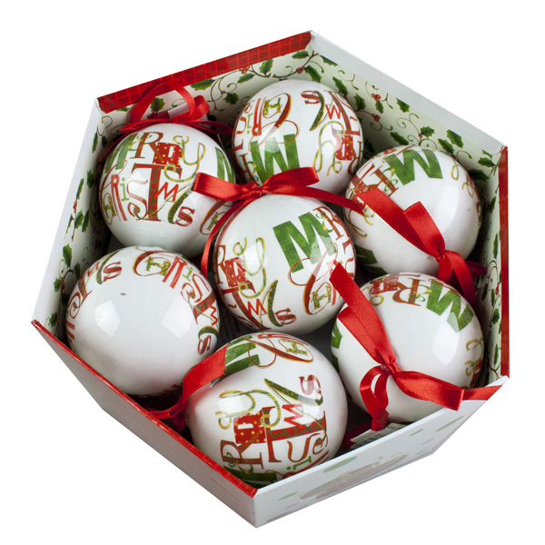 Merry Christmas Design Decoupage Baubles In Gift Box - 14 X 75mm