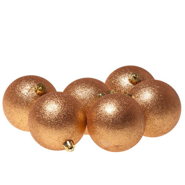 Pack of 6 x 80mm Almond Shatterproof Glitter Baubles