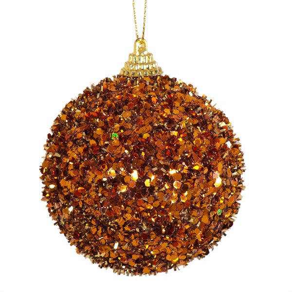 Spangle Bauble With Almond Tinsel Finish - 80mm