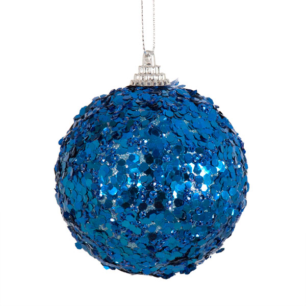 Spangle Bauble With Blue Glitter Finish - 80mm