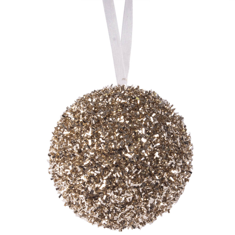 Spangle Bauble With Pale Brown Glitter Finish - 80mm