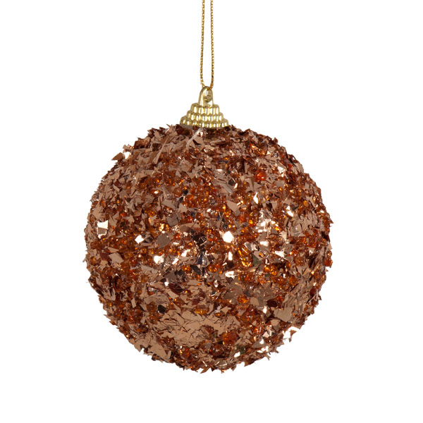 Spangle Bauble With Copper Foil Finish - 80mm