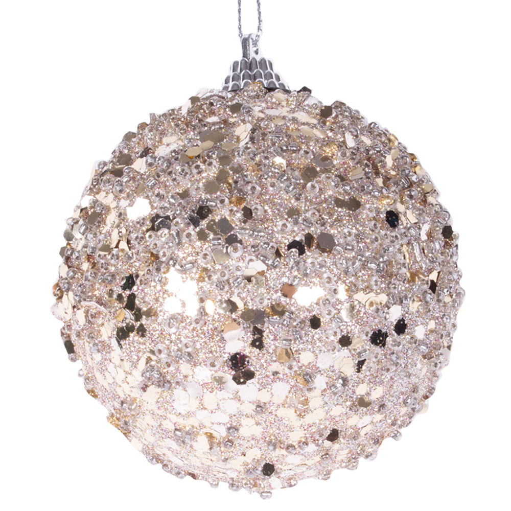 Spangle Bauble With Dove Grey Glitter Finish - 80mm