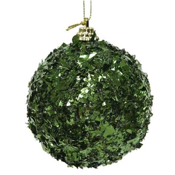 Spangle Bauble With Dark Green Foil Finish - 80mm