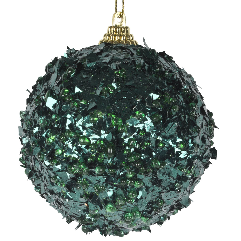 Spangle Bauble With Emerald Green Foil Finish - 80mm