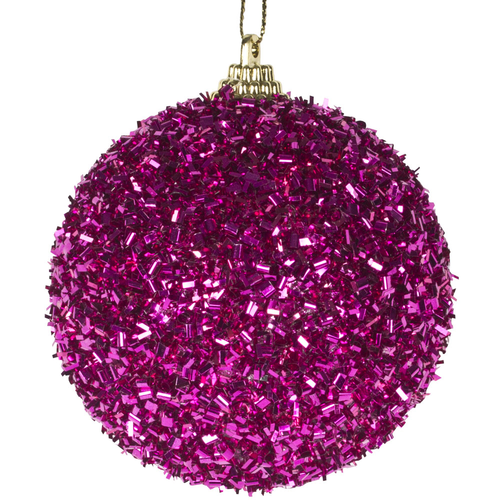 Spangle Bauble With Fuchsia Glitter Finish - 80mm