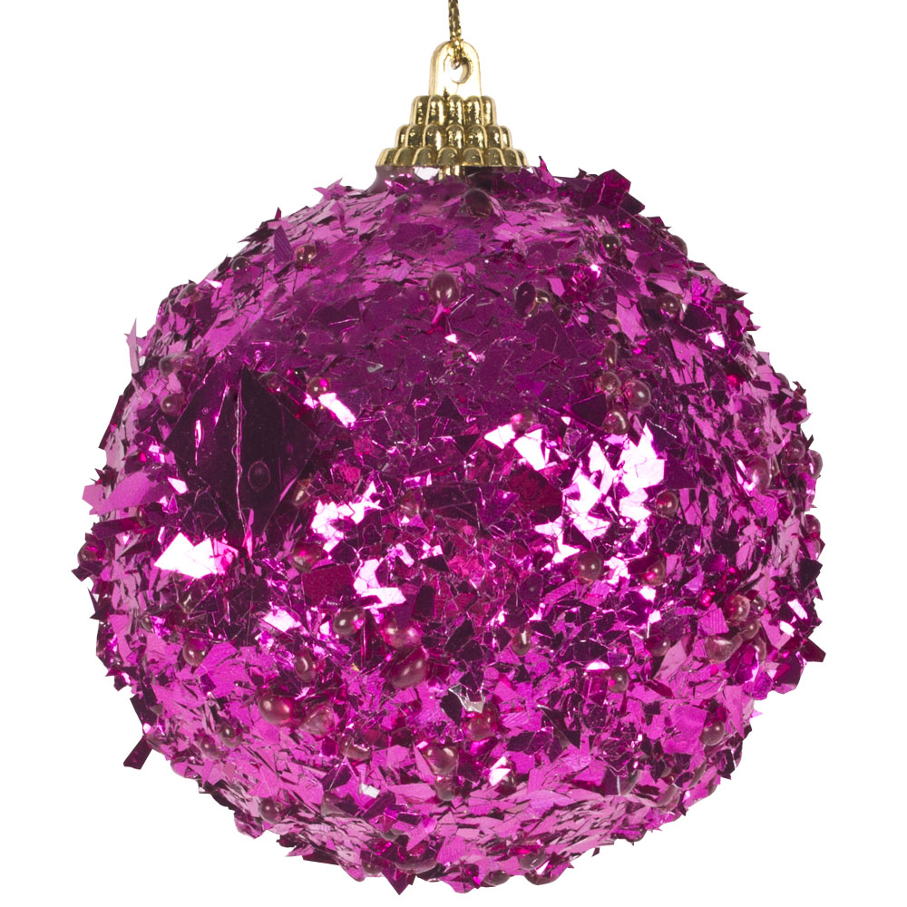 Spangle Bauble With Fuchsia Foil Finish - 80mm
