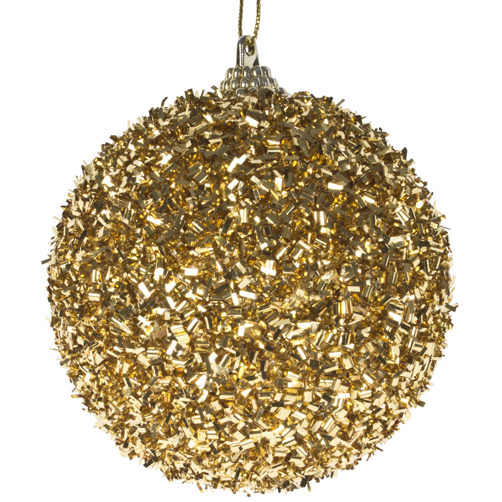 Spangle Bauble With Gold Glitter Finish - 80mm
