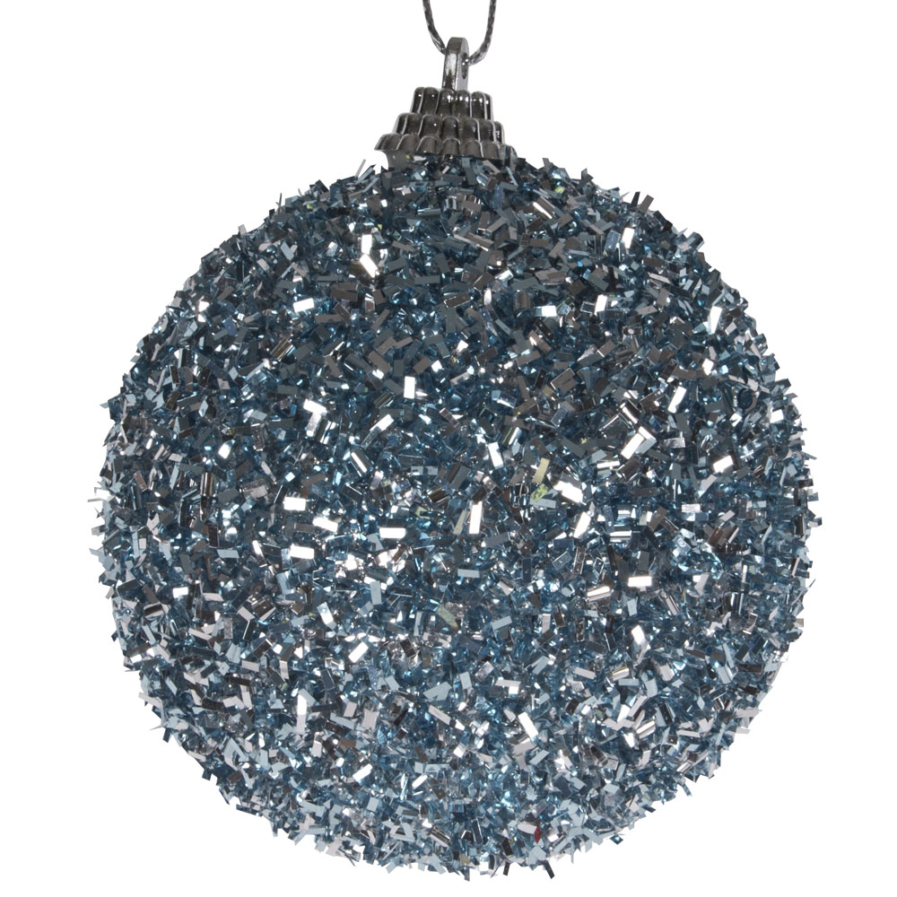 Spangle Bauble With Ice Blue Glitter Finish - 80mm
