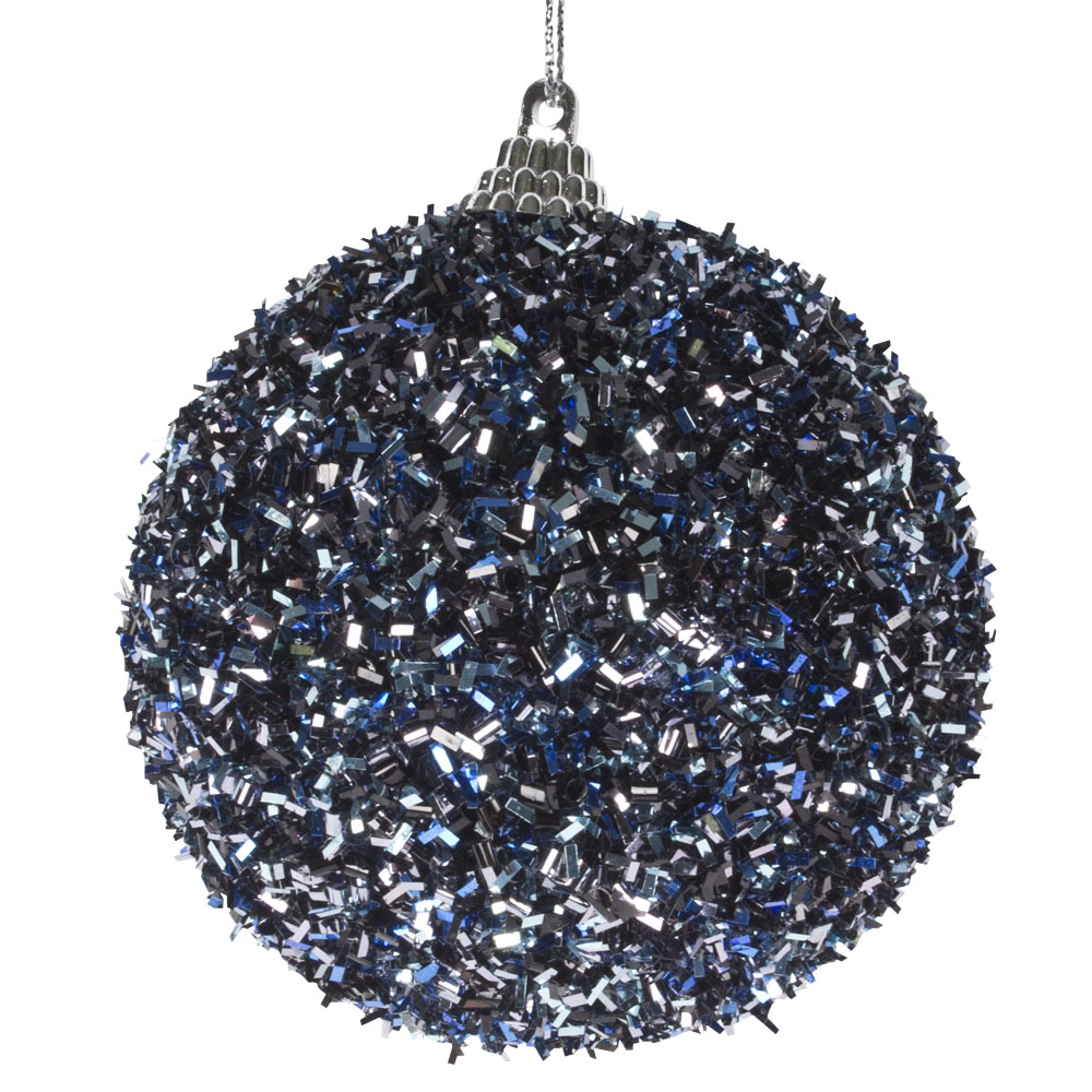 Spangle Bauble With Night Blue Glitter Finish - 80mm