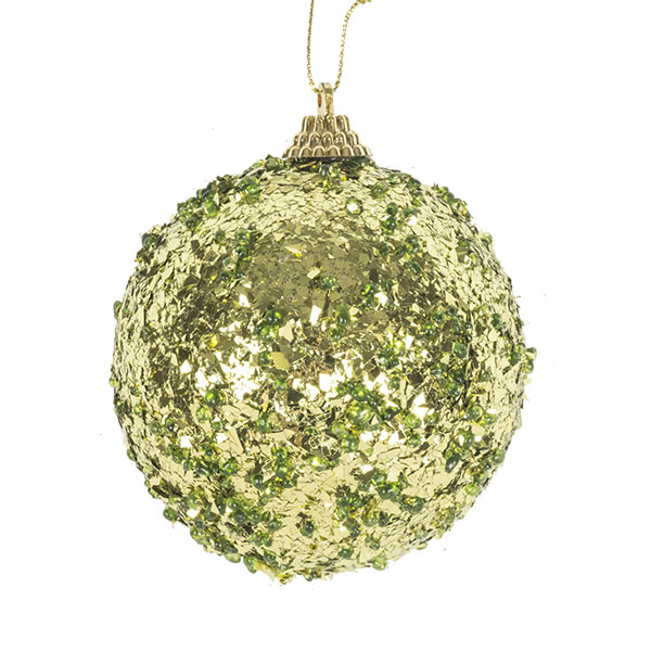 Spangle Bauble With Olive Green Foil Finish - 80mm