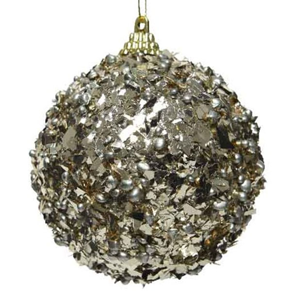 Spangle Bauble With Pale Brown Foil Finish - 80mm