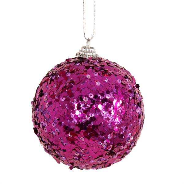 Spangle Bauble With Purple Glitter Finish - 80mm