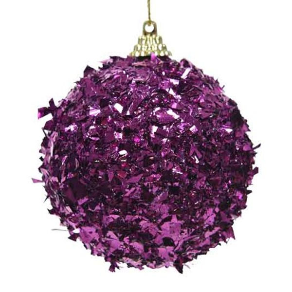 Spangle Bauble With Royal Purple Foil Finish - 80mm