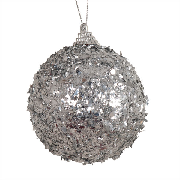 Spangle Bauble With Silver Foil Finish - 80mm