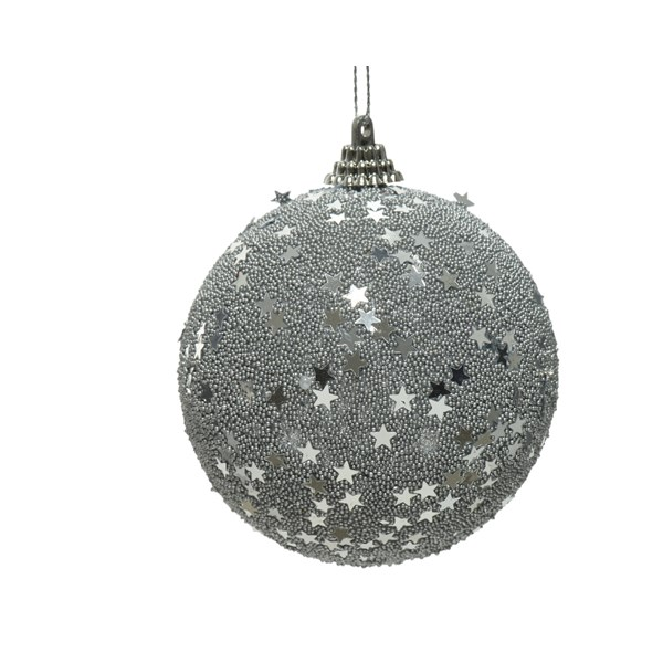 Spangle Bauble Silver With Sequin Stars - 80mm