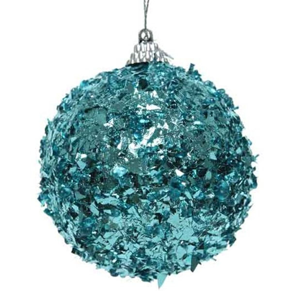 Spangle Bauble With Turquoise Foil Finish - 80mm