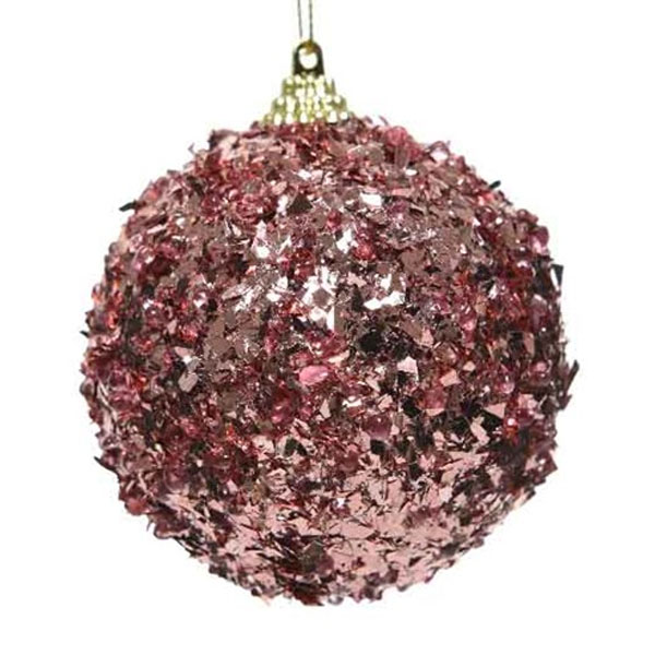 Spangle Bauble With Velvet Pink Foil Finish - 80mm
