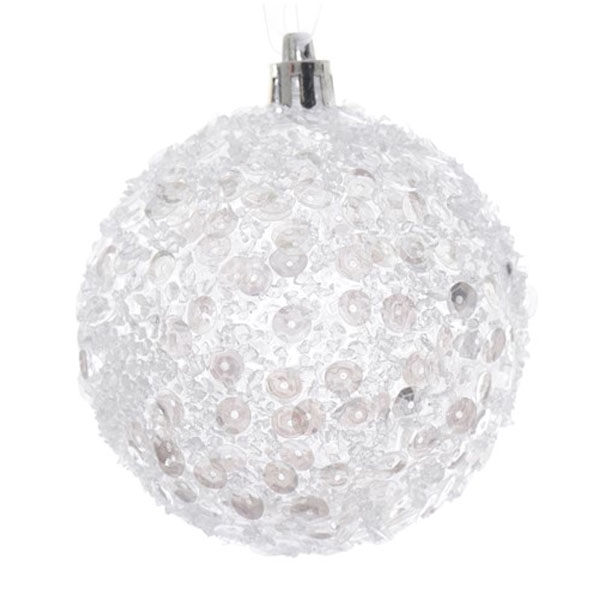 Spangle Bauble With White Sequins - 80mm