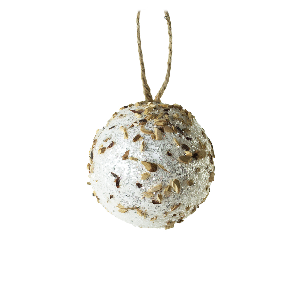 Spangle Bauble With Glitter & Wood Chips - 80mm