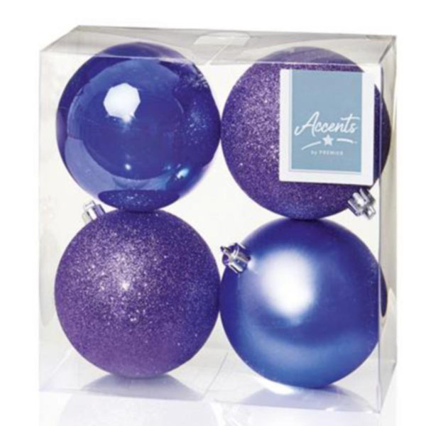 Mixed Finish Lilac Shatterproof Baubles - 4 X 100mm