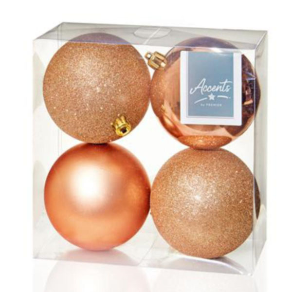 Mixed Finish Rose Gold Shatterproof Baubles - 4 X 100mm